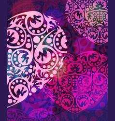 Abstract purple heart card vector