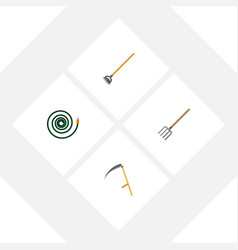 flat icon farm set of cutter hosepipe tool and vector image
