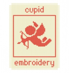embroidery with cupid  vector image