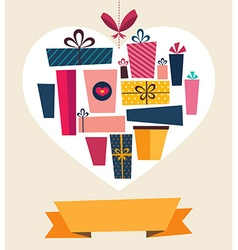 Retail gifts in heart vector