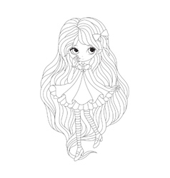 Coloring book page - girl elf vector
