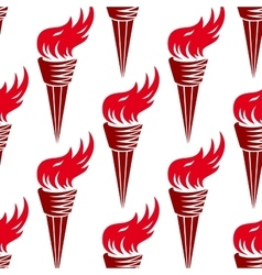 Seamless pattern of red burning torches vector
