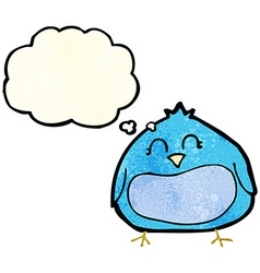 Cartoon fat bird with thought bubble vector