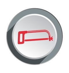 Saw fretsaw tool icon repair fix symbol red vector