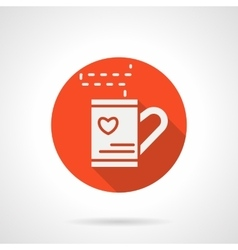 Red love tea cup round icon vector