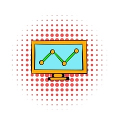 Graph on the computer monitor icon comics style vector