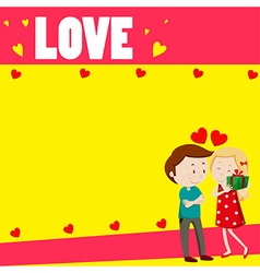 Love couple on paper design vector