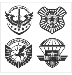 Military airforce patch set - armed forces badges vector