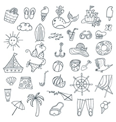 Summer icons set outlined vector