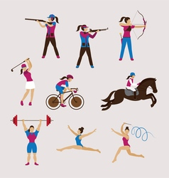 Sports athletes women set vector