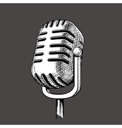 Vintage microphone hand drawn engraving vector image