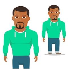 Black man in green hoody cartoon character vector