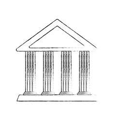 Blurred silhouette cartoon skecth parthenon vector