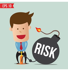 Cartoon business man pump risk bomb vector