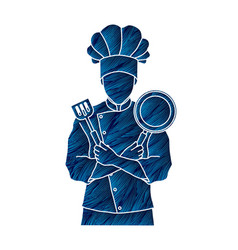 Chef cook standing crossed arms with pan vector
