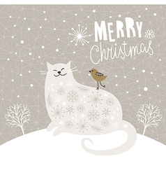 Christmas card with big cat and little bird vector image vector image