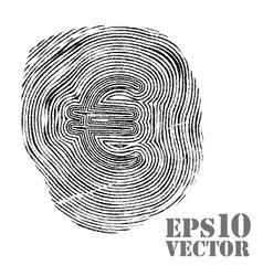 Fingerprint with euro sign vector