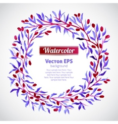 Floral watercolor wreath with pink berries vector image vector image