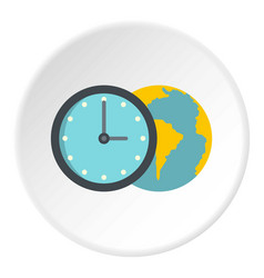 globe and clock icon circle vector image