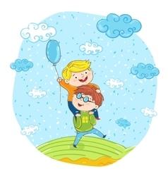 Happy children cartoon characters at park vector