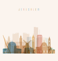 Jerusalem skyline detailed silhouette vector
