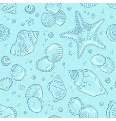 Light blue seamless seashells pattern vector image