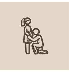 Man with pregnant wife sketch icon vector image vector image