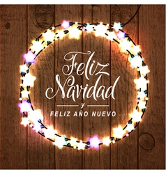 Merry christmas happy new year spanish card vector