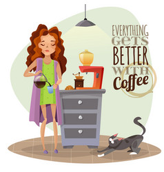 Morning awakening with cup of coffee vector