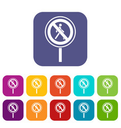 No pedestrian sign icons set vector