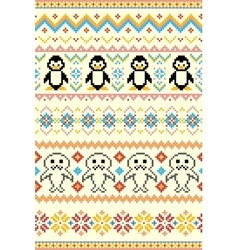 Pixel bright seamless winter pattern vector image