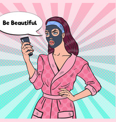 Pop art pretty woman with black mask on her face vector