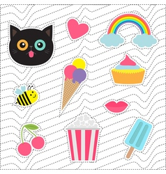 Quirky cartoon sticker patch badges set Fashion vector image vector image