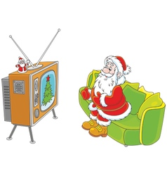 Santa watching tv vector