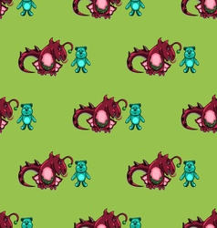 seamless pattern with dragon and the bear vector image vector image