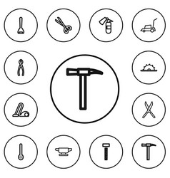 Set of 12 editable equipment outline icons vector