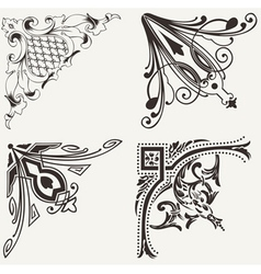 Set Of Four Hogh Ornate Corners Elements Of Design vector image