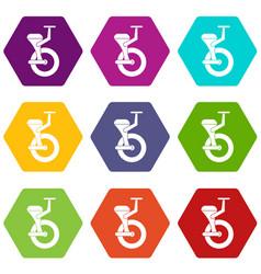 Solo wheel icon set color hexahedron vector