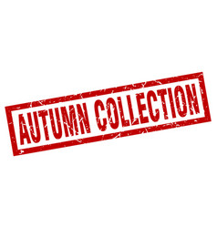 Square grunge red autumn collection stamp vector