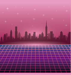the 80s landscape style vector image