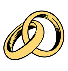 wedding rings icon cartoon vector image