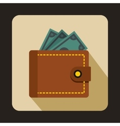 Purse with money icon flat style vector