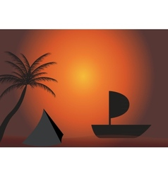 Palm boat in the sunset EPS 10 vector image