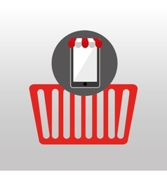 Online shopping red basket design vector