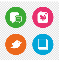 social media chat speech bubble photo frames vector image
