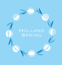 Blue holland style tulip flower pattern modern vector