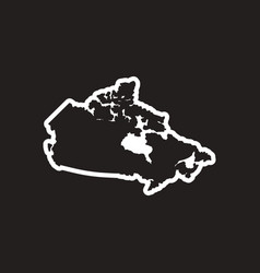 Stylish black and white icon map of canada vector