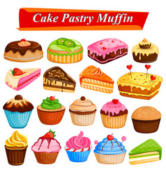 Set of yummy assorted cakes and pastry food vector