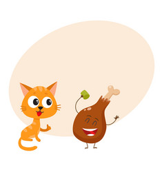 Funny red cat kitten character looking heartily vector