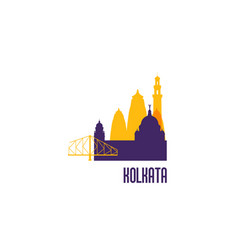 Sign buildings of kolkata colorful architecture vector